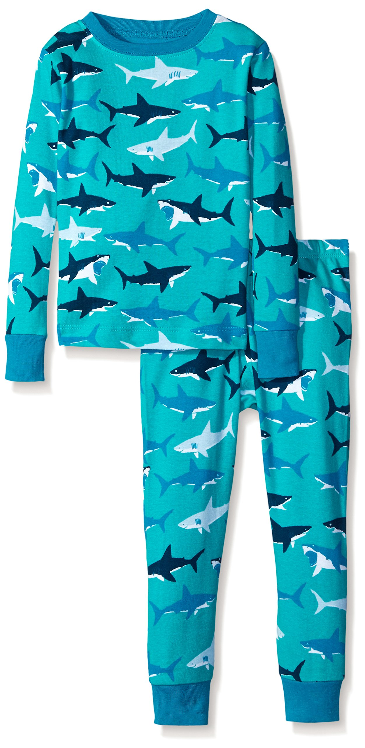 Hatley Little Boys Great White Sharks Pajama Set, Blue, 3
