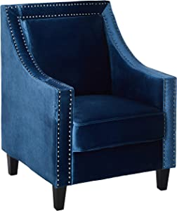 Iconic Home Camren Accent Club Chair Velvet Upholstered Swoop Arm Silver Nailhead Trim Espresso Finished Wood Legs Modern Contemporary, Navy
