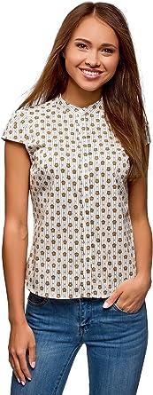 oodji Ultra Mujer Camisa Raglán con Cuello Mao: Amazon.es: Ropa y accesorios