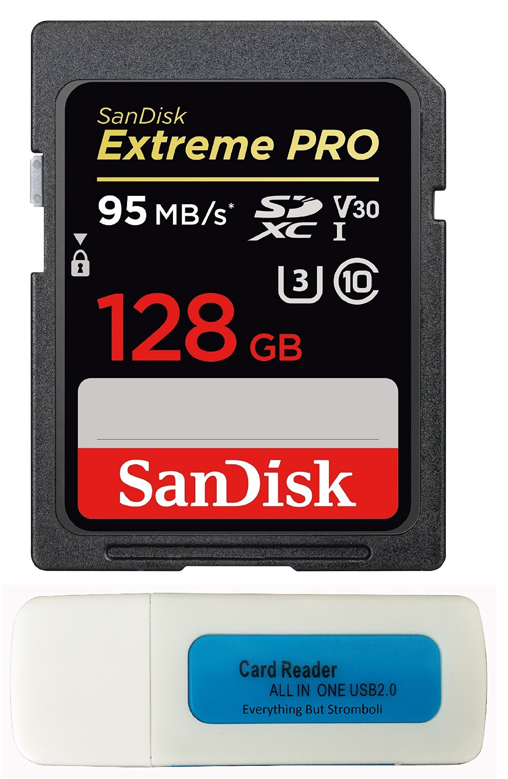 Nikon D850 SanDisk 128GB Extreme Pro Memory Card works with  FX-format Digital SLR DSLR Camera SDXC 4K V30 UHS-I (SDSDXXG-128G-GN4IN) with Everything But Stromboli Combo Reader