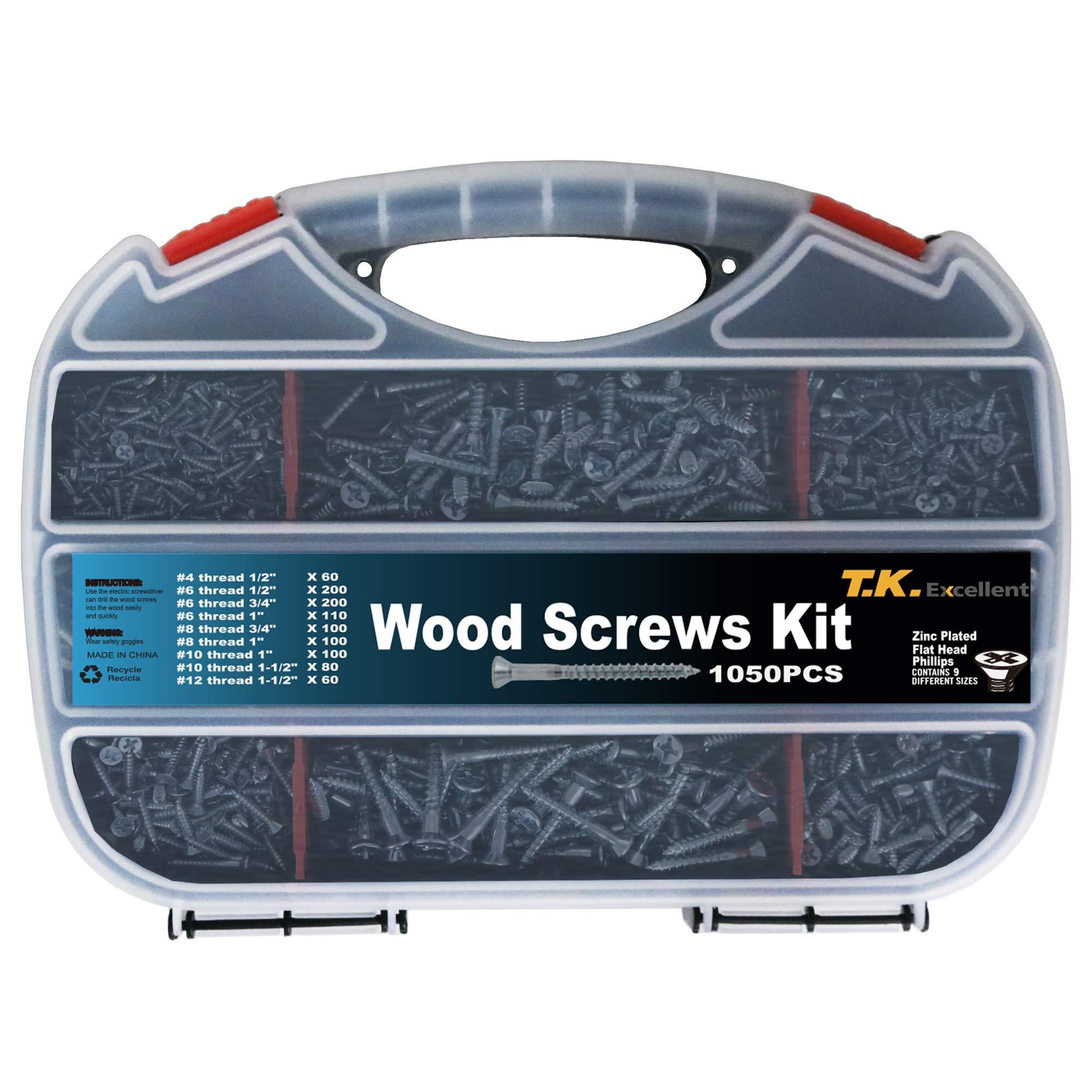 T.K.Excellent Wood Screw Phillips Flat Head #4#6#8#10#12 Screws Assortment Kit,1050 Pcs