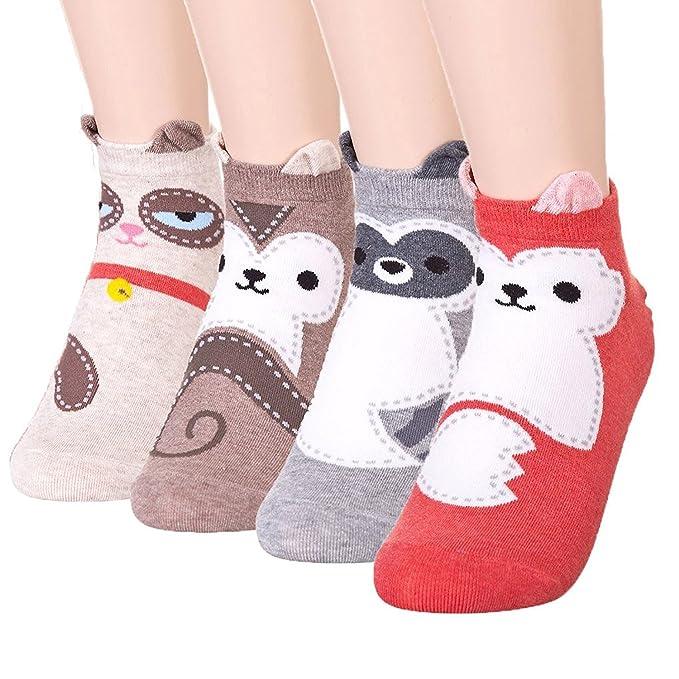 Happytree - Calcetines cortos - para mujer multicolor Adore Animal 4 Pairs Talla única: Amazon.es: Ropa y accesorios