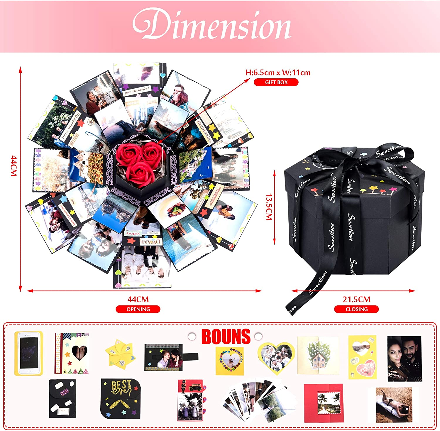 Kami Explosion Box Scrapbook DIY Kit Photo Album Creative Surprise Hexagon Personalized Gift Box