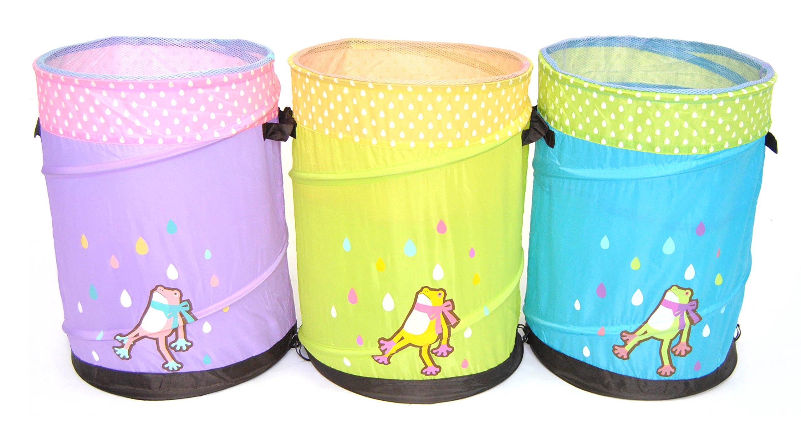 Set of 3 Pop-up Hamper Storage Bin / Basket / Container - Mr. Organize Frog for Children: Green, Blue and Purple