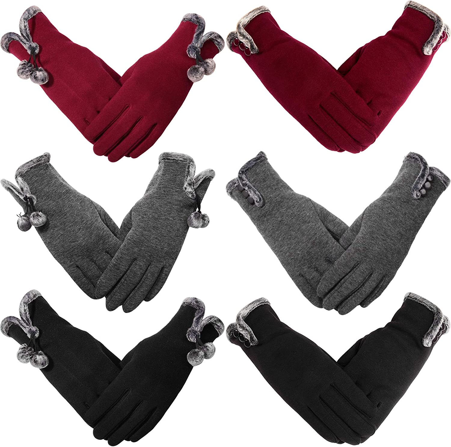 6 Pairs Women Gloves Winter Warm Touchscreen Finger Gloves Windproof Cold Weather Mitten Gloves for Women Girls, 3 Colors
