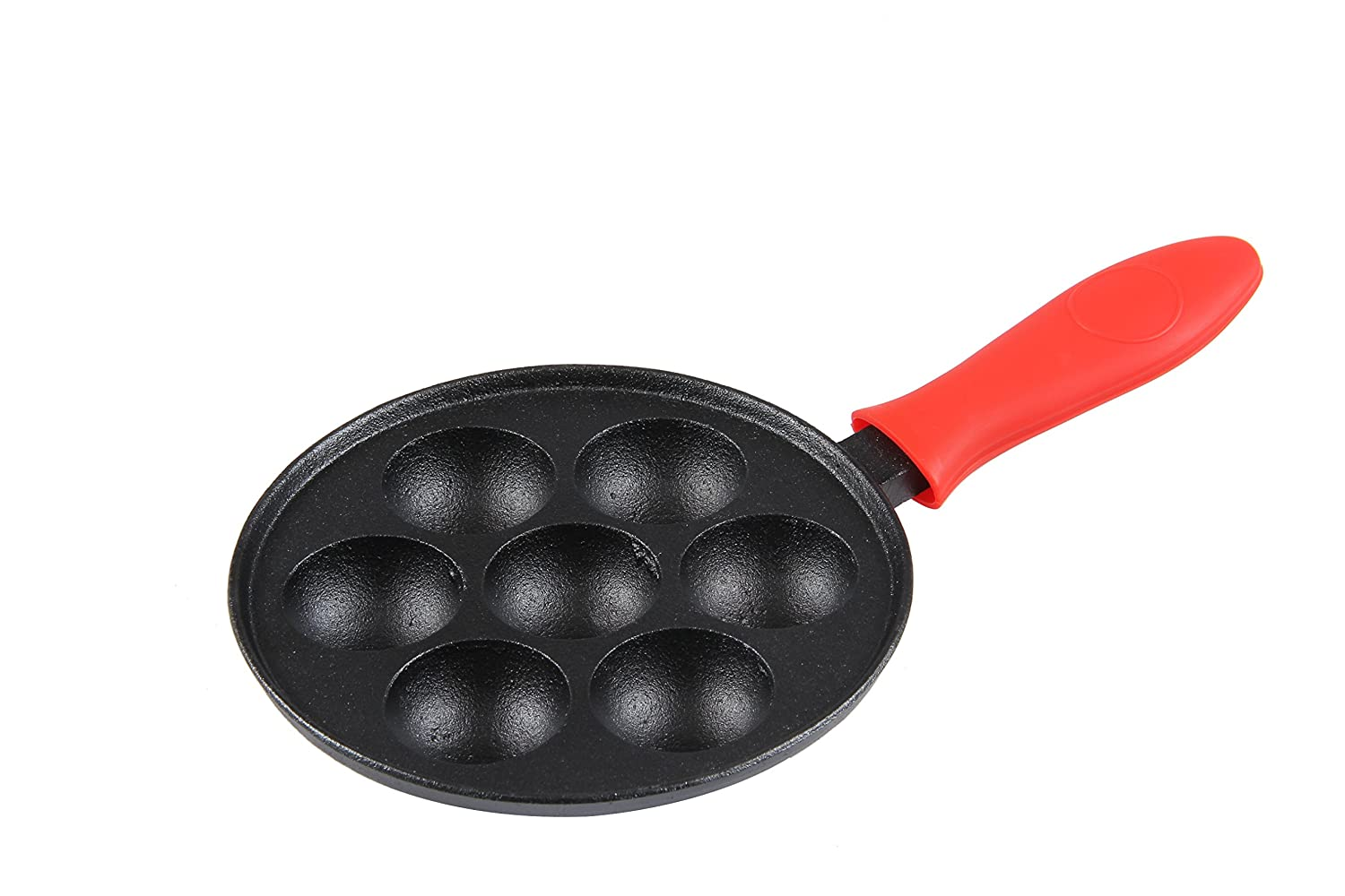 Cast Iron Aebleskiver Pan for Danish Stuffed Pancake Balls by Upstreet (Black)