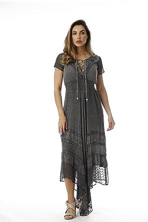5c32c94d320 Riviera Sun Embroidered Boho Summer Maxi Dress at Amazon Women s ...