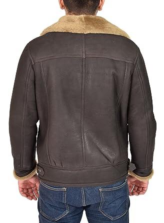 Amazon.com: Mens Real Sheepskin Leather Jacket Ginger Shearling B3 Bomber Pilot Coat - Danny: Clothing