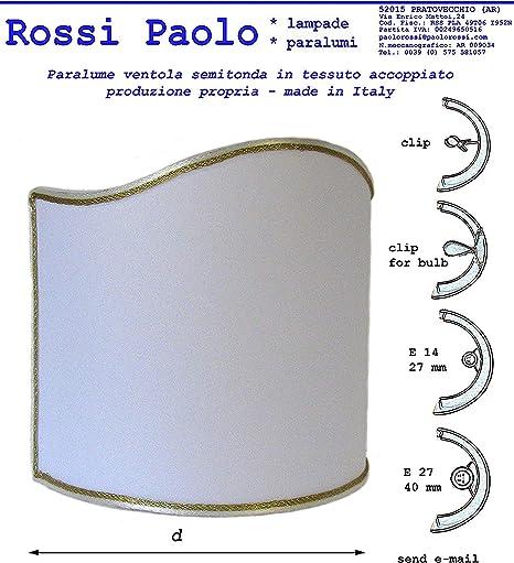 Paolo Rossi Paralume Mezzo Tondo Ventola Vela in Tessuto accoppiato a plastica Produzione Propria Made in Italy (cm 12)