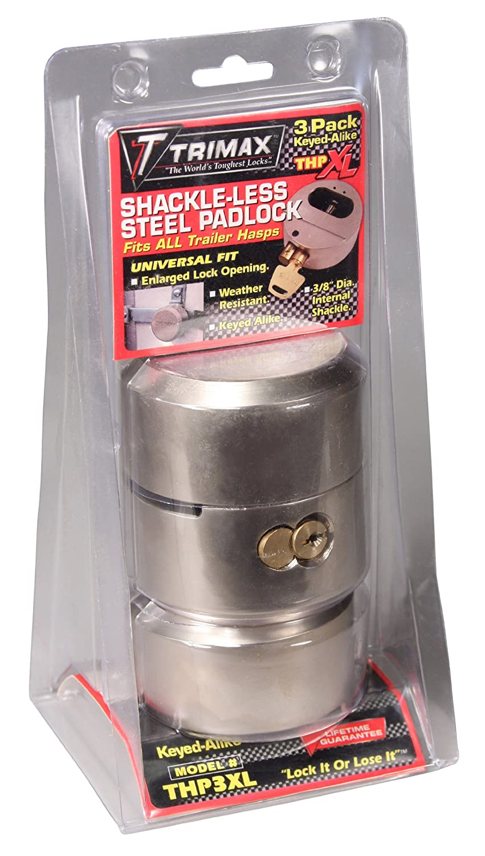 Trimax THP3XL Hockey Puck Keyed Alike Internal Shackle Trailer Door Lock, (Pack of 3) SS-SMS-4010222