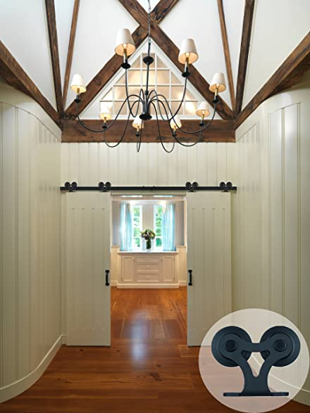 CCJH T Shaped With Two Rollers Sliding Barn Door Hardware Wood Closet Interior  Door Track