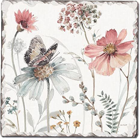 Amazon Com Counterart Absorbent Tumbled Tile Stone Coaster Set A Country Weekend Ii Floral And Butterfly Kitchen Dining