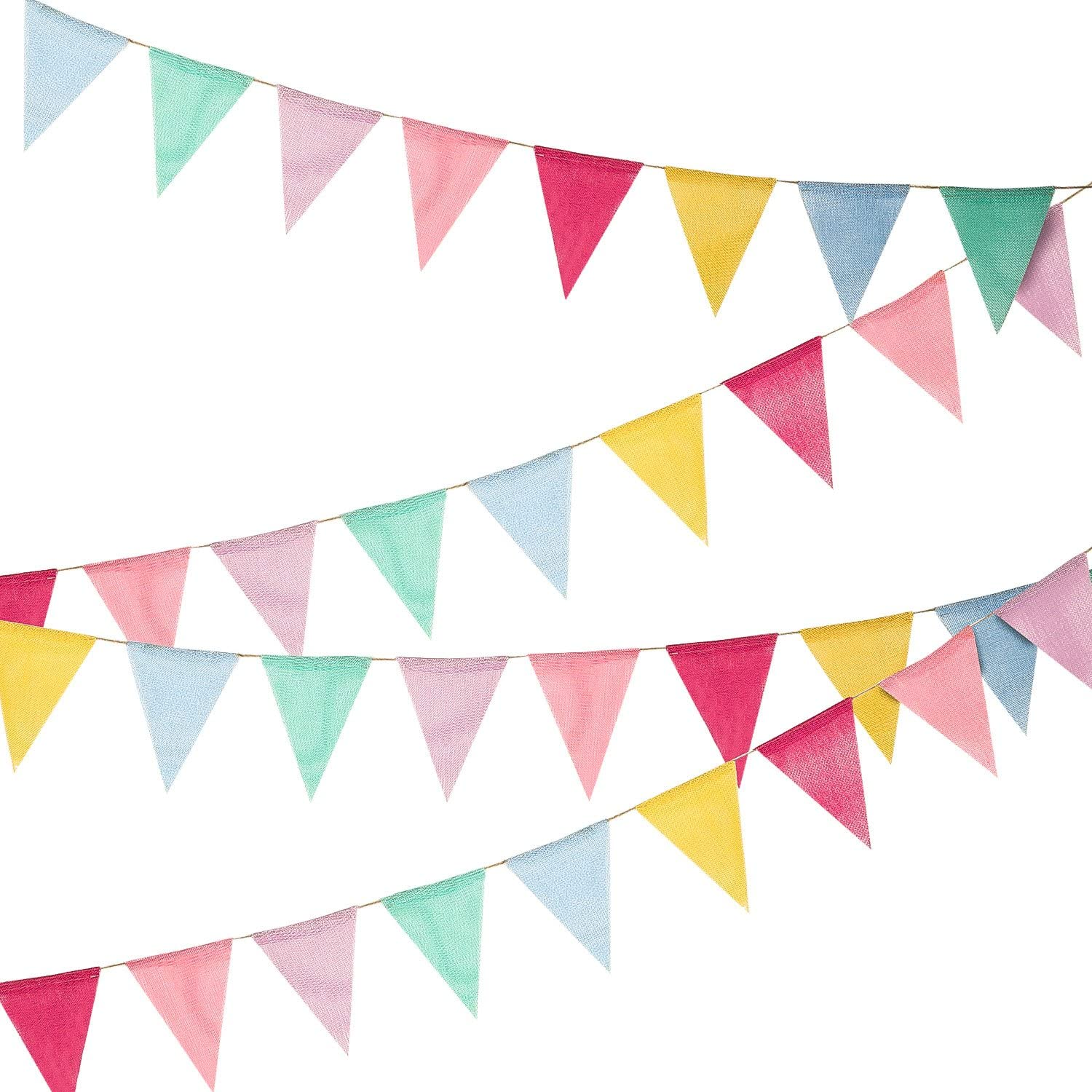 36 Flags Multicolored Pennant Flags Banner Imitated Burlap Bunting Banner Pastel Decor Fabric Triangle Flag for Party Decoration