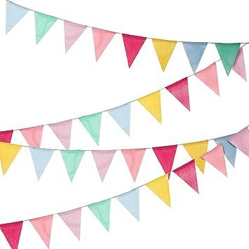 Hicarer 36 Banderas Banderines de Arpillera de Imitación Banderas de Triángulo de Multicolor para Decoración de Fiesta: Amazon.es: Juguetes y juegos