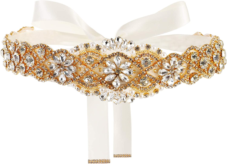 Yanstar Handmade Wedding Belt with Rhinestone Crystal Bridal Belt for Wedding Dress