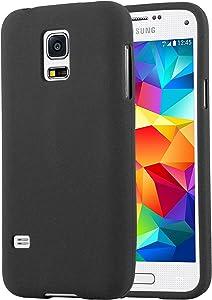 Cadorabo Funda para Samsung Galaxy S5 Mini / S5 Mini DUOS en Frost Negro - Cubierta Proteccíon de Silicona TPU Delgada e Flexible con Antichoque - Gel Case Cover Carcasa Ligera