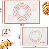 Silicone Pastry Baking Mat (40x60cm) & (26x29cm), Reayouth Non-Stick Reusable Rolling Pastry Mat with Measuring Guide for Kitchen Cookie Dough Mat,Counter Mat (Red)