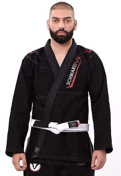 Schwarzbull Vitals,Brazilian jiu Jitsu(BJJ) Gi Kimono,100% algodón Tela con cinturón Blanco Gratis,
