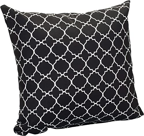Bright White Quatrefoil on Black Pattern 16 x 16 Indoor Outdoor Throw Pillows Set of 2
