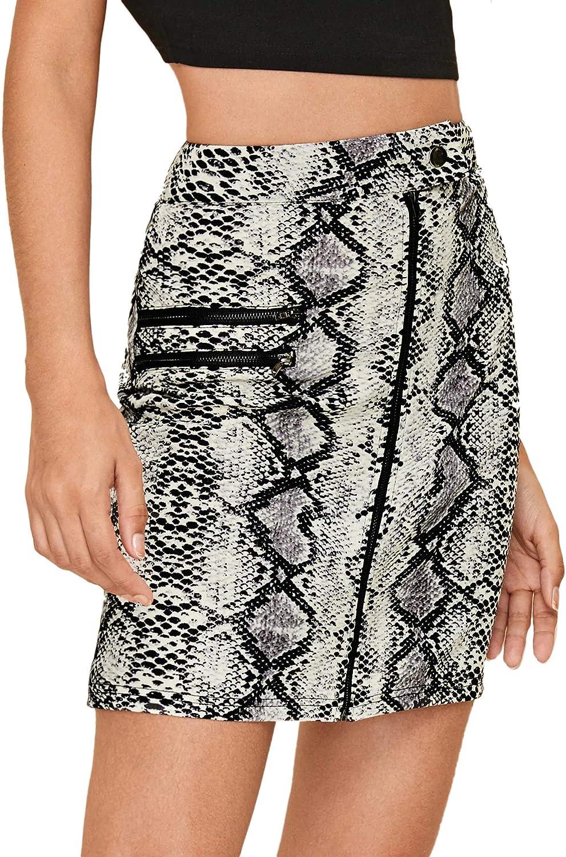 WDIRARA Womens Casual Mid Waist Above Knee Zip Up Leopard Print Skirt