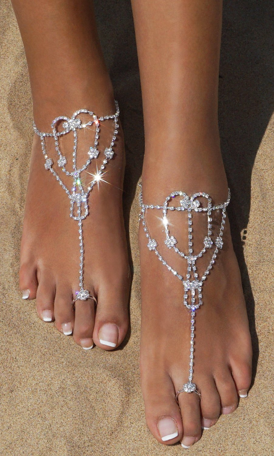 2 Pcs Barefoot Sandals with Rhinestone Toe Ring Beach Wedding Foot Jewelry Anklet Chain,Silver_Style 5 by Bellady (Image #3)