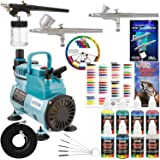 Professional 3 Airbrush System Kit with G22, G25, E91 Master Airbrushes & TC-40 Air Compressor, 6 Primary Colors US Art Supply Paint Set