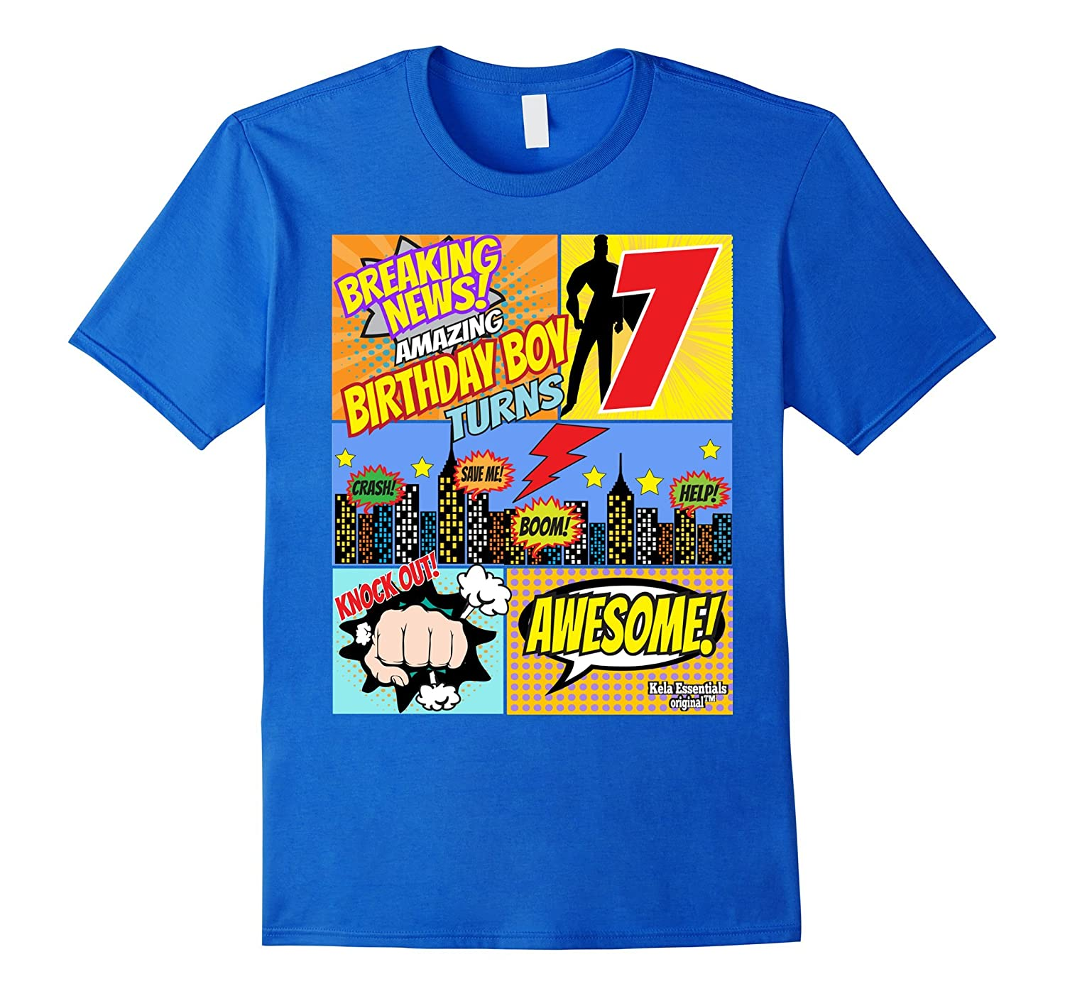 Superhero Birthday Shirt Boys 7 Amazing Awesome Super TD