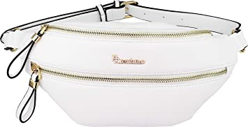 cfb87b3d5ad0 B Brentano Vegan Leather Fanny Pack Waist Purse with RFID Blocking (White)