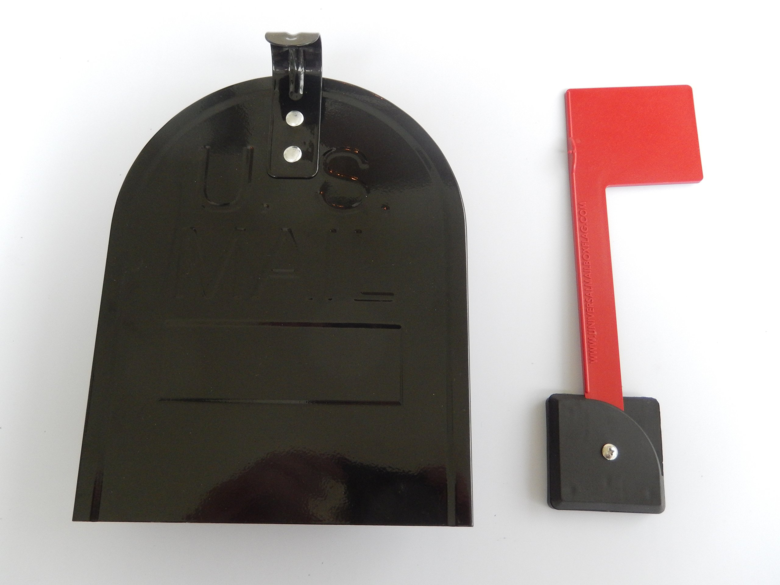 Black Retrofit Snap-In Mailbox Door 6 1/4'' (width) x 8'' (height) and Red Universal Mailbox Flag