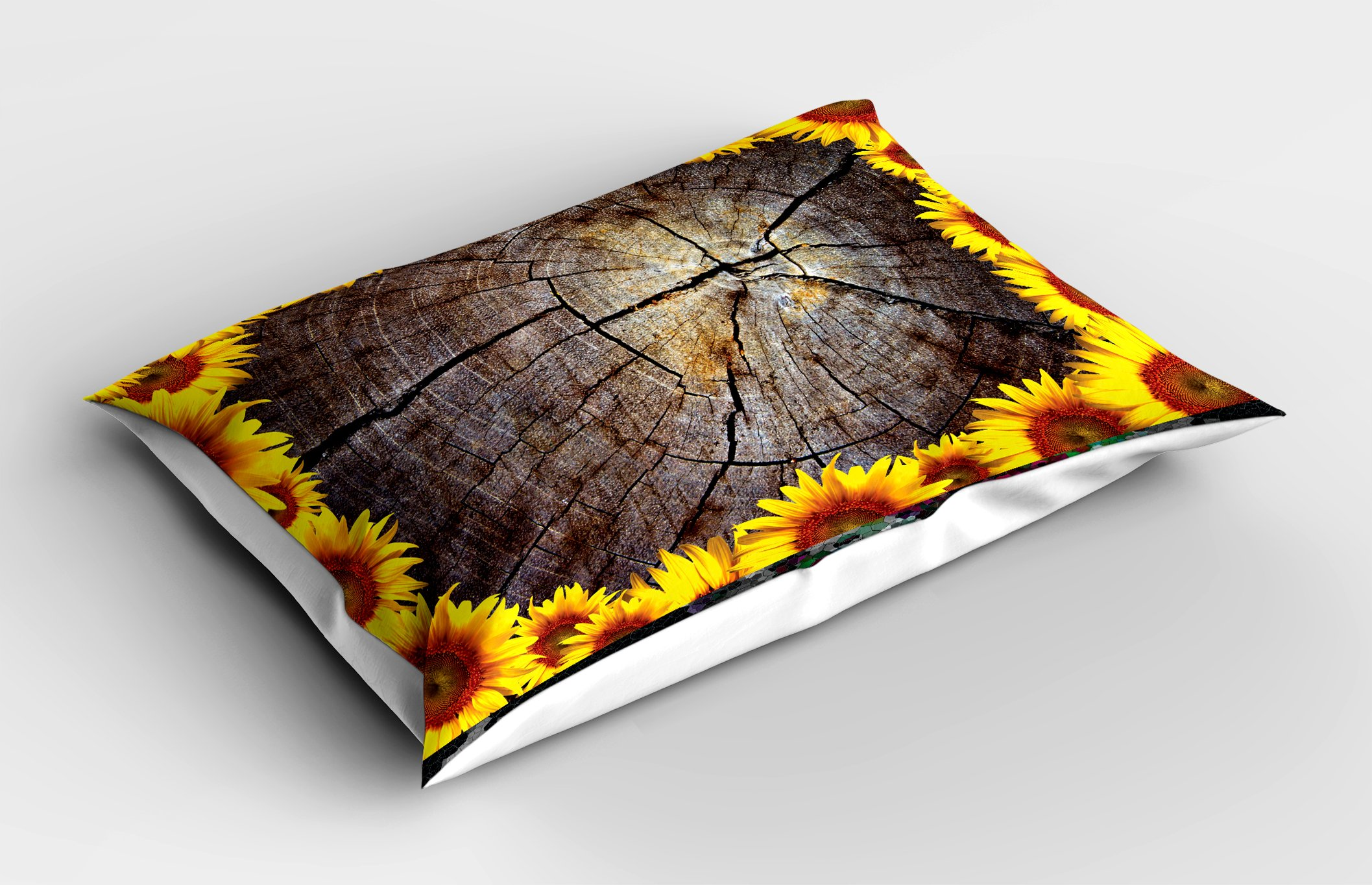 Lunarable Sunflower Pillow Sham, Cut Section Wood Stump with Sunflowers Seeds Tree Trunk Rustic Ornamental, Decorative Standard King Size Printed Pillowcase, 36 X 20 inches, Seal Brown Yellow by Lunarable (Image #2)