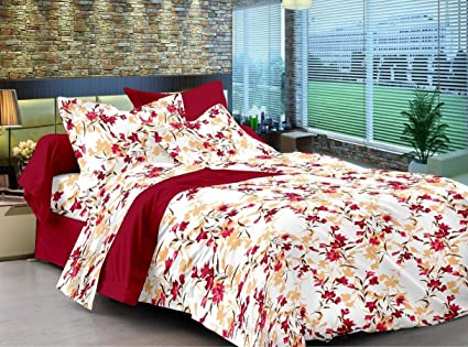 28e4beaed74 Ahmedabad Cotton Comfort 160 TC Cotton Double Bedsheet with 2 Pillow Covers  - Maroon  Amazon.in  Home   Kitchen