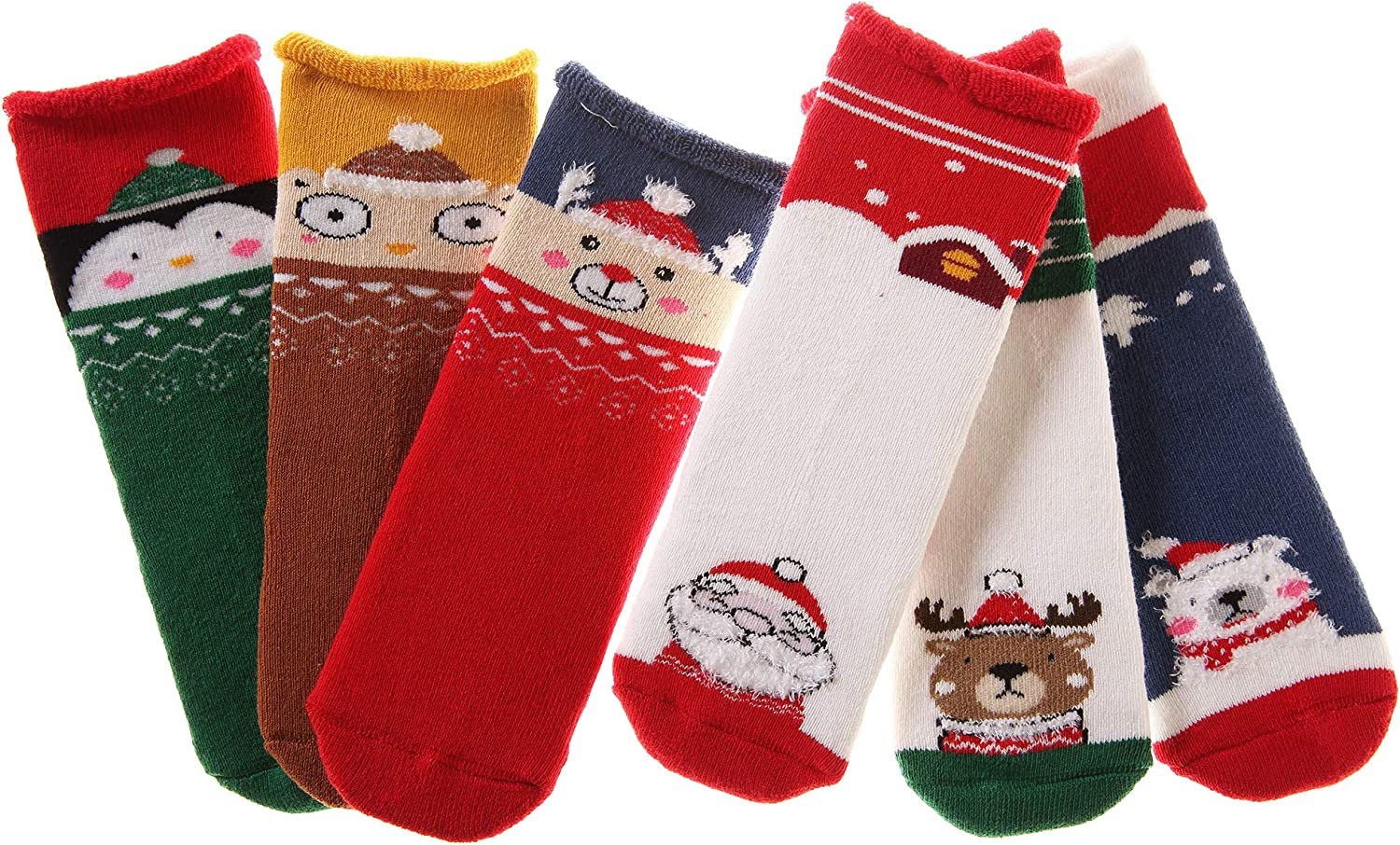 Eocom Christmas Kids Socks Baby Cotton Thick Thermal Warm Holiday Crew Child Girls Boy Toddler Socks 6 Pairs