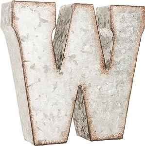 Galvanized Metal 3D Letter W