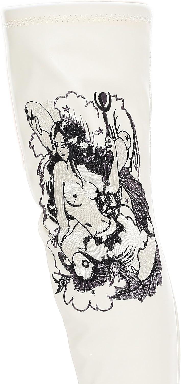 Scarpe sopra il ginocchio con tacco cromato, nero, rosso, rosa, bianco Tatuaggio Bianco