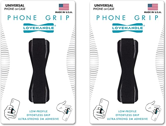 Grip it Securely for Texting Ultra Slim Pocket Friendly Finger Strap for iPhone and Mini Tablet Photos and Selfies Black 2-Pack Love Handle Cell Phone Grip Holds Device with just a Finger