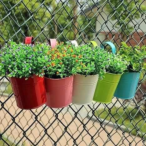 (10 unidades) ydj desmontable Gancho Metal cubo macetas maceta de color de flores/