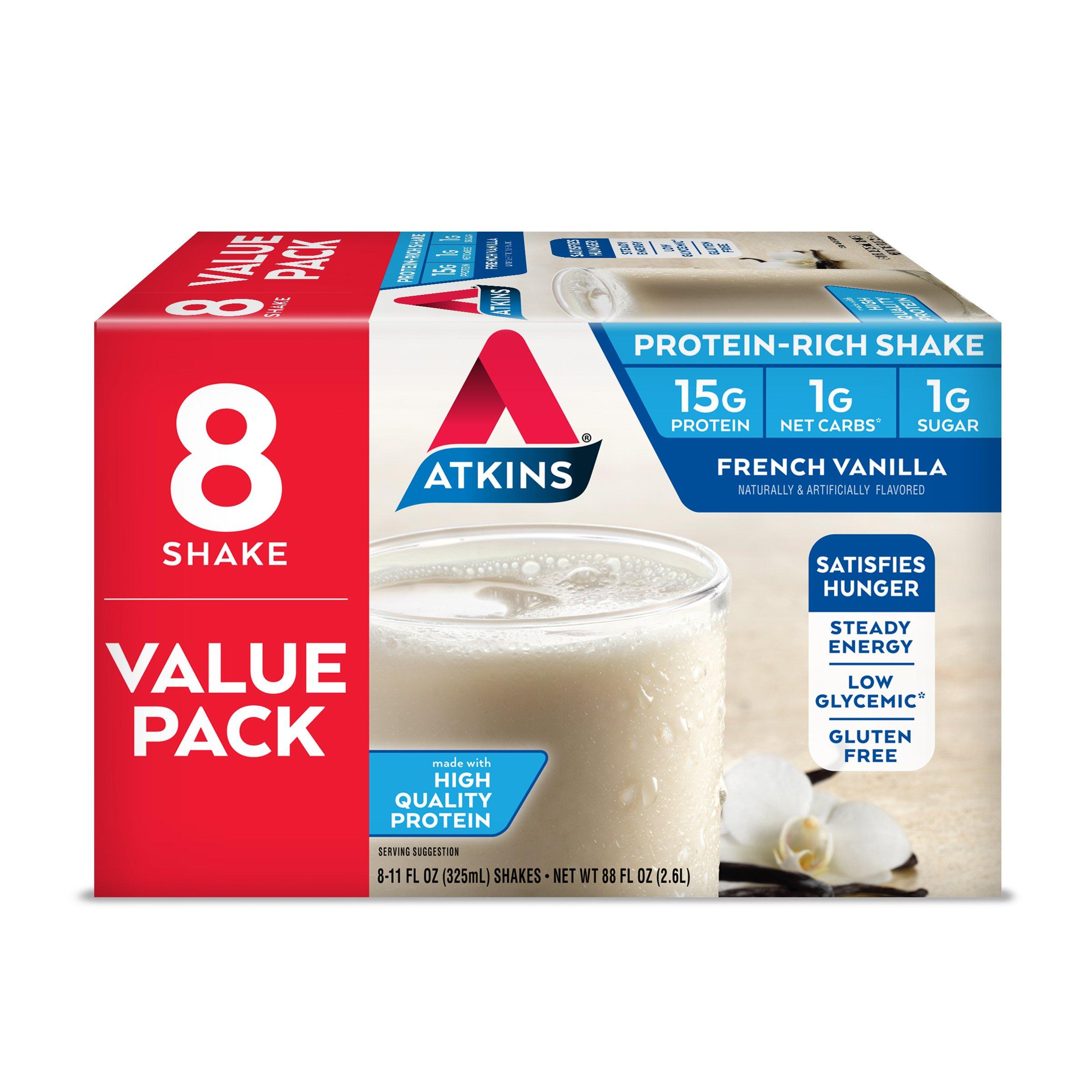 Atkins Gluten Free Protein-Rich Shake, French Vanilla, Keto Friendly, 8 Count by Atkins
