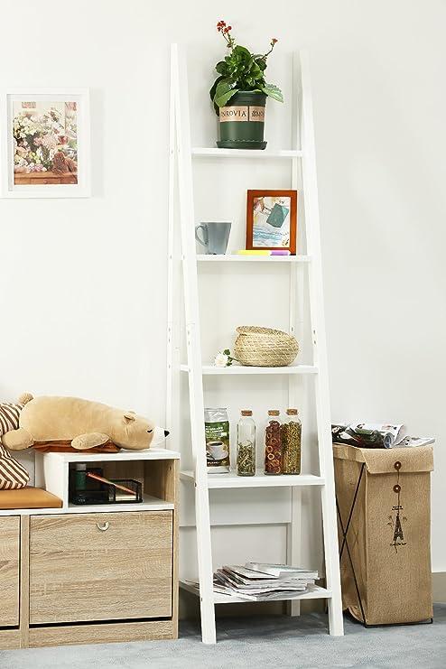 Orolay Moderna Estantería de Esquina librerias con 5 estantes (Blanco): Amazon.es: Hogar