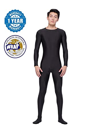 f3a126c585 COLOR LIFE Men s Unitard Lycra Long Sleeve Scoop Neckline Spandex Bodysuit  Zentai Costume - Black -
