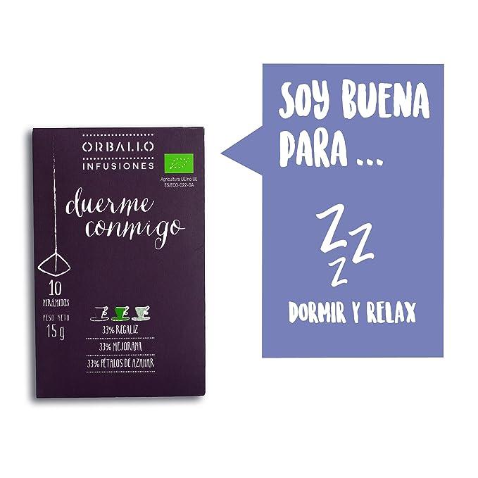 Duerme conmigo-Regaliz,mejorana y pétalos de azahar-10 pirámides-15g-Infusión ecológica-ORBALLO: Amazon.es: Alimentación y bebidas