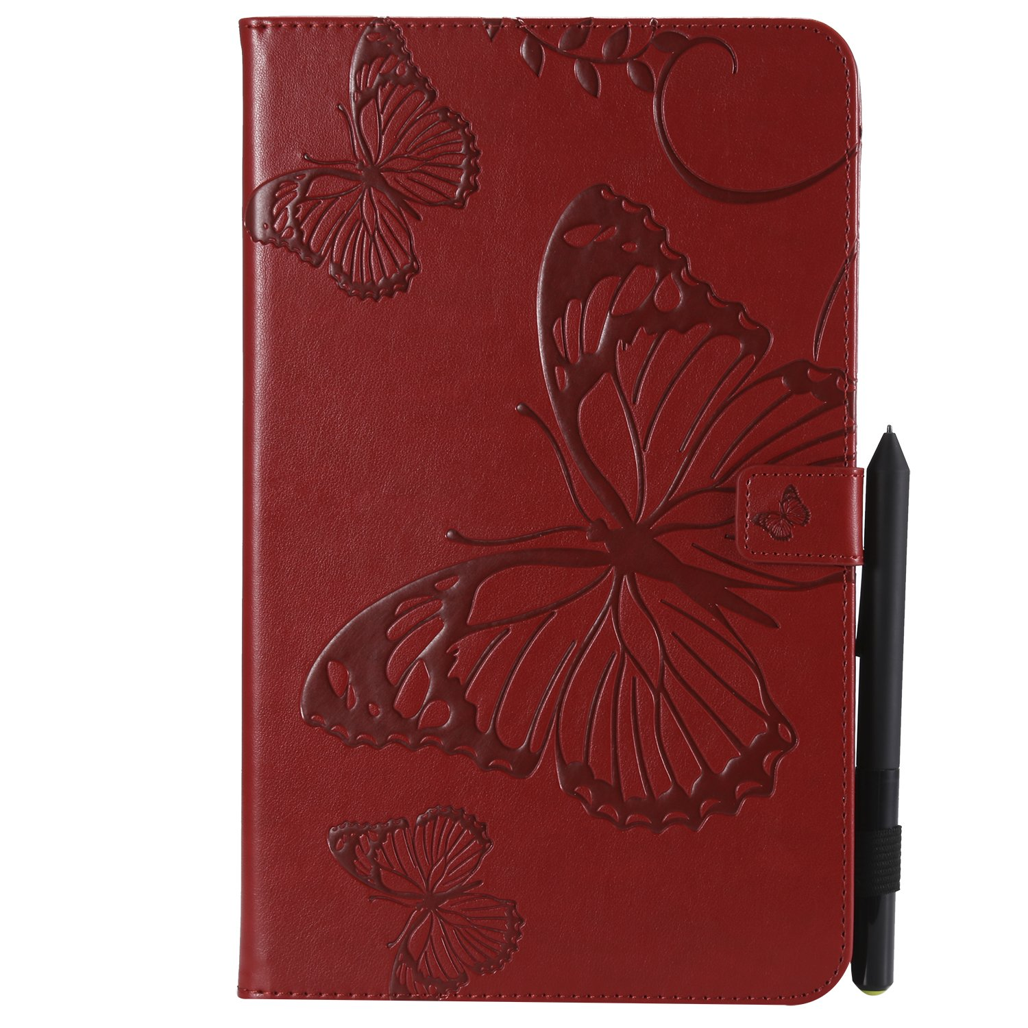 Bear Village Galaxy Tab a 10.1 Inch Case, Butterfly Embossed Anti Scratch Shell with Adjust Stand, Smart Stand PU Leather Case for Samsung Galaxy Tab a 10.1 Inch, Red