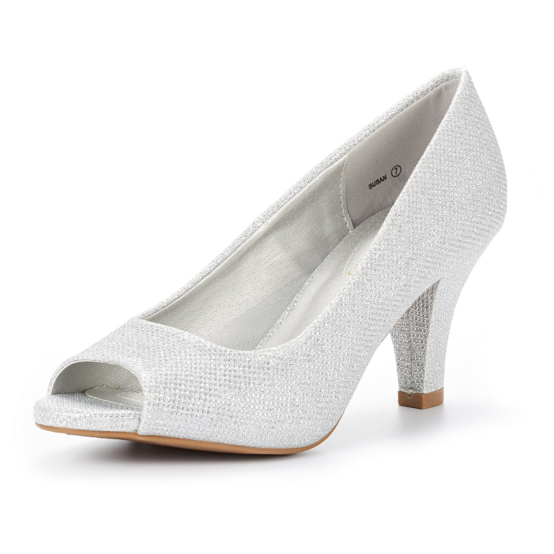 DREAM PAIRS Women's Susan Silver GLIT Fashion Stilettos Peep Toe Pumps Heels Shoes Size 9.5 B(M) US