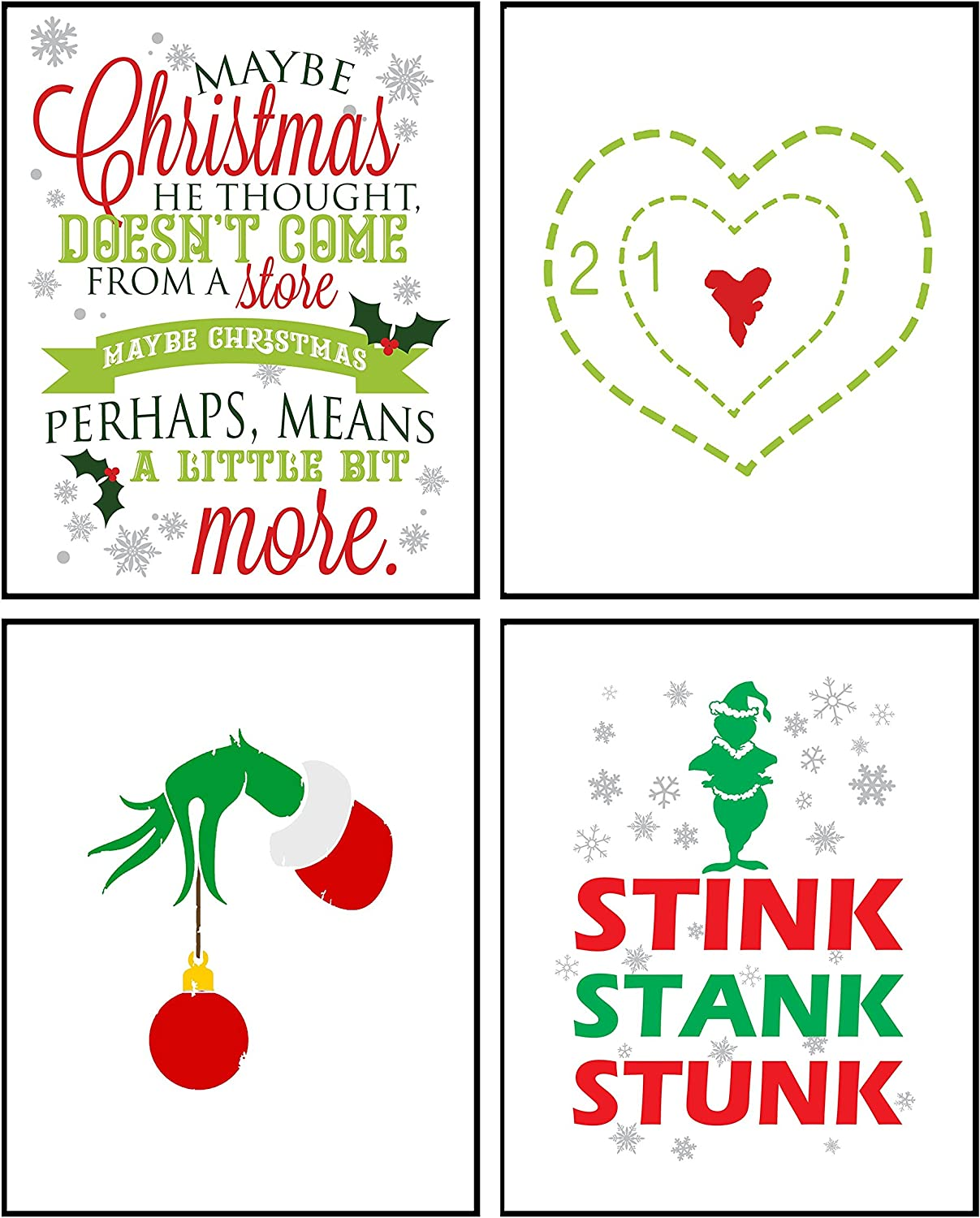 Silly Goose Gifts Stink Stank Stunk Wall Art Prints (Set of Four) 8x10in Christmas Signs Decoration Decor