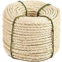 Yangbaga Natural Sisal Seil, Sisalseil für Kratzbaum, Mehrzweckseil Sisal, DIY und Austauchbar, eine Teil für Kratzbaum,20m,50m 8mm (mit einen Ball)