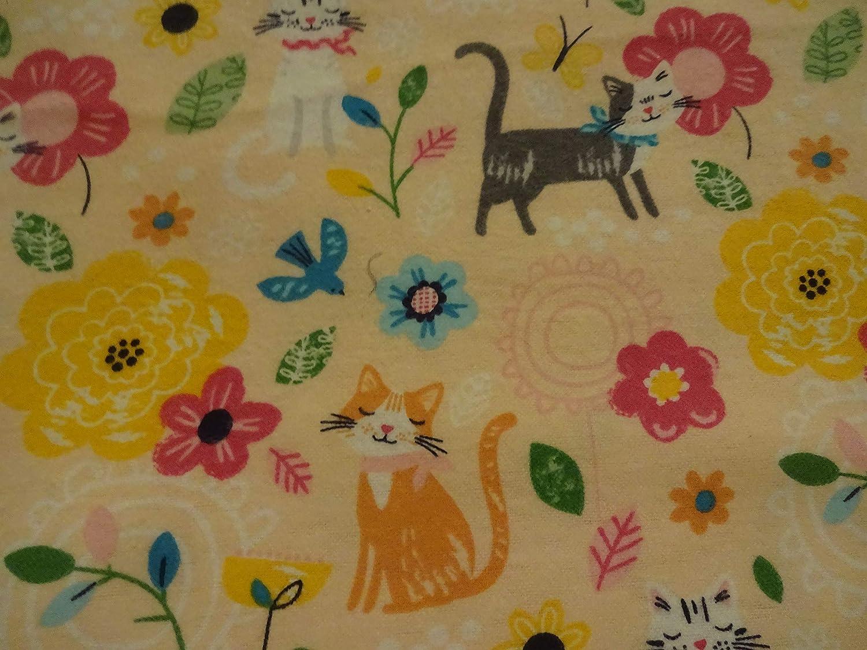 DarlingSPRINGTIME KITTENS on PEACH Handmade Cotton Flannel Pillowcase Standard//Queen Gift