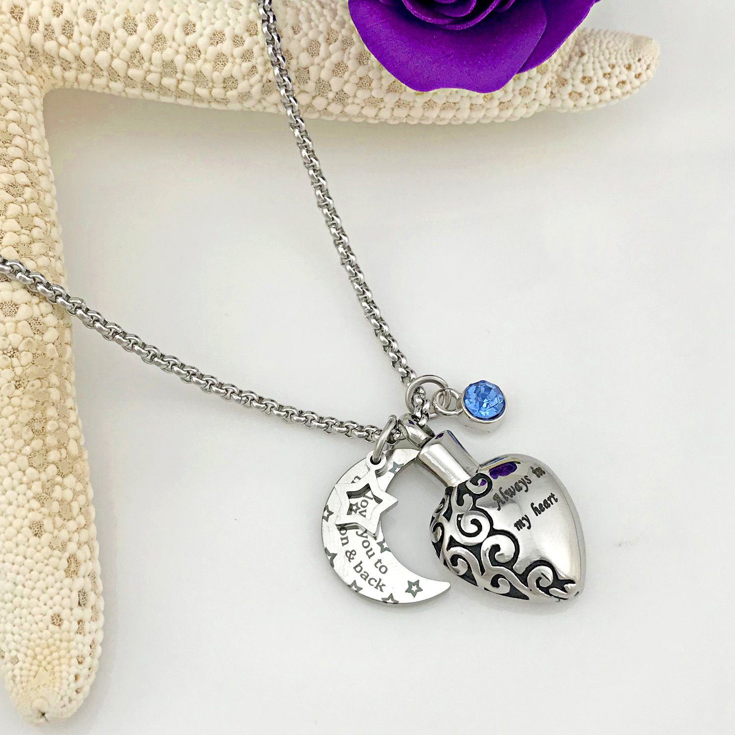 YOUFENG Urn Necklaces for Ashes Always in My Heart Love You to The Moon and Back 12 Birthstones Styles Necklace (December Birthstone URN Necklace) by YOUFENG (Image #5)