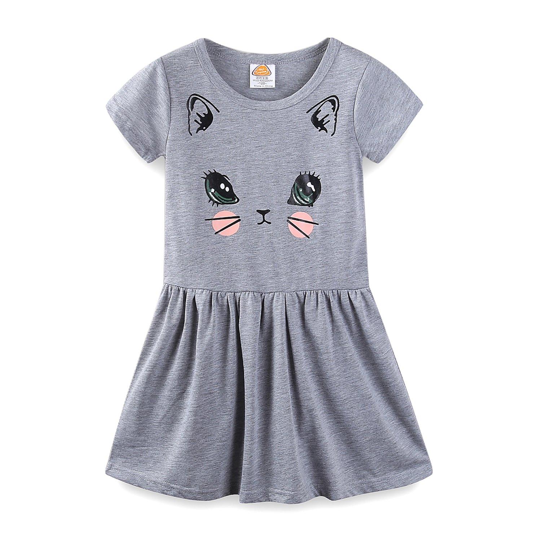 Mud Kingdom Little Girls Dresses Short Sleeve Summer Kitten Size 6 Gray