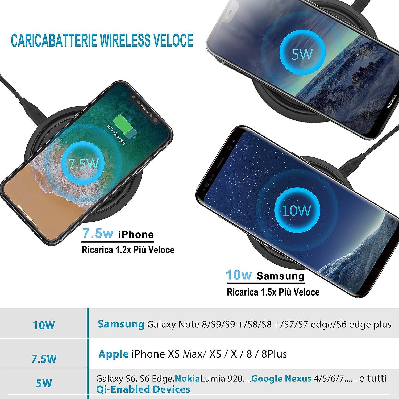 UpKin 7.5W Cargador Inalámbrico Rápido para iPhone XS/XS Max/XR/X/8/8 Plus, 10W Qi Carga Rápida Inalámbrico para Samsung Galaxy Note 9/8/S9/Plus/S8+ y ...