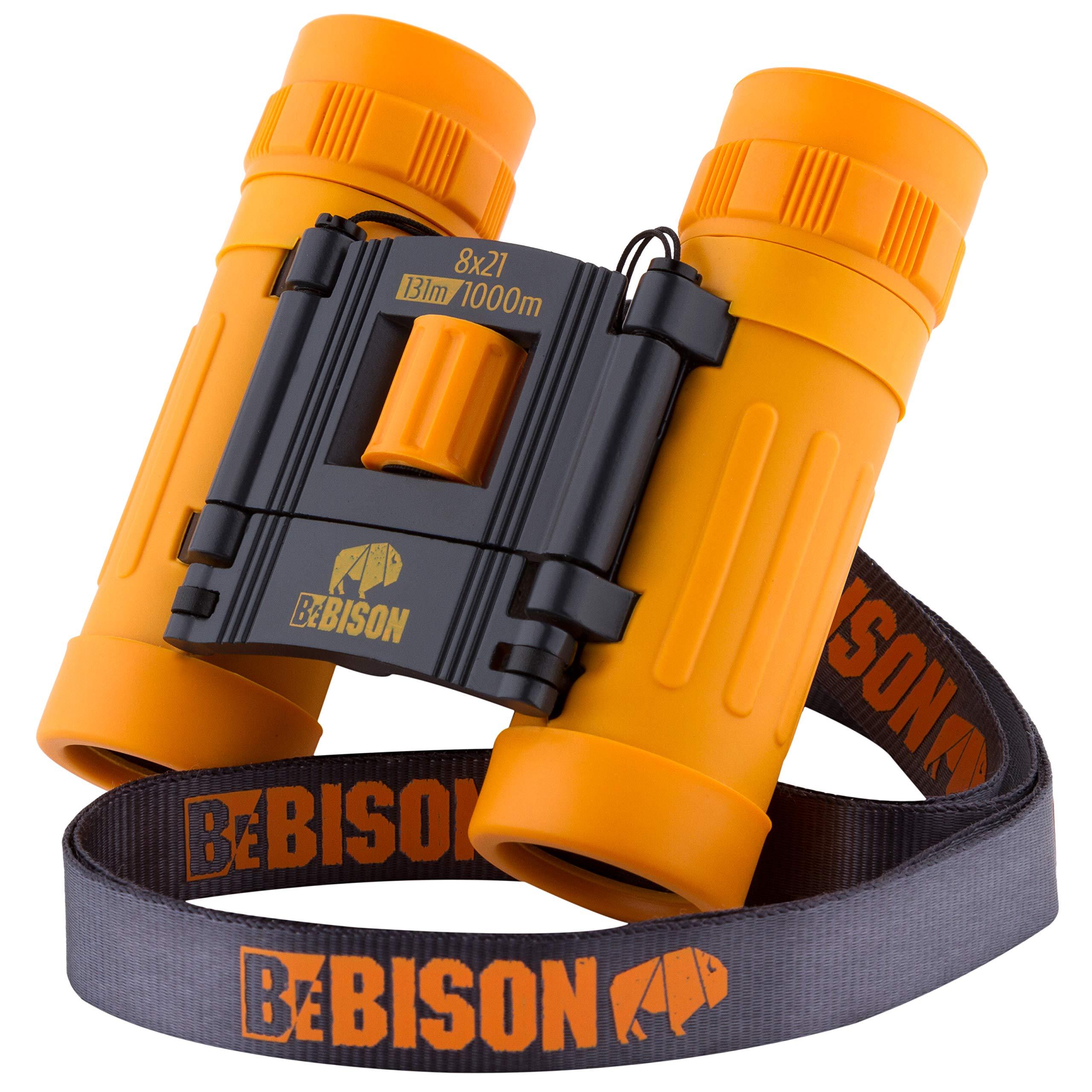 BeBison Zoom & Focus Binoculars - Play 8x21 Spy Binoculars for Kids and Adults - Compact Bird Watching Explorer Shockproof Binoculars - Premium Educational & Long range Binoculars for Nature Discovery by BeBISON