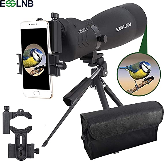 ESSLNB Spotting Scope with Tripod Cell Phone Adapter 25-75 X 70 BAK4 Waterproof Straight Spotting Scopes for Target Shooting Hunting Bird Watching